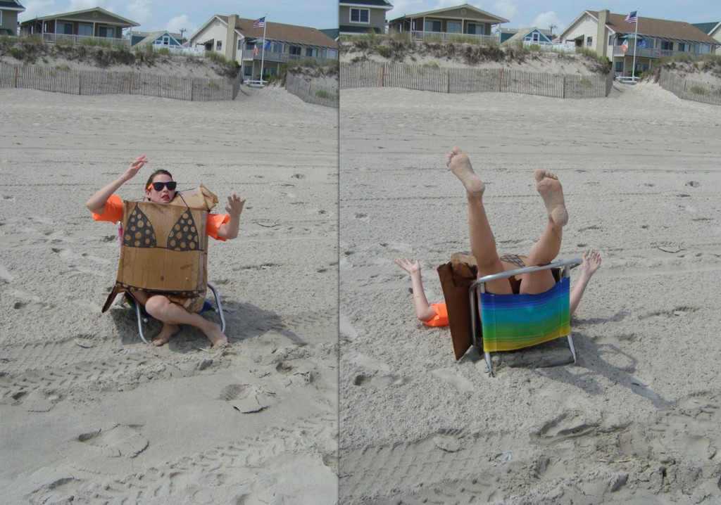 Box - woman on beach